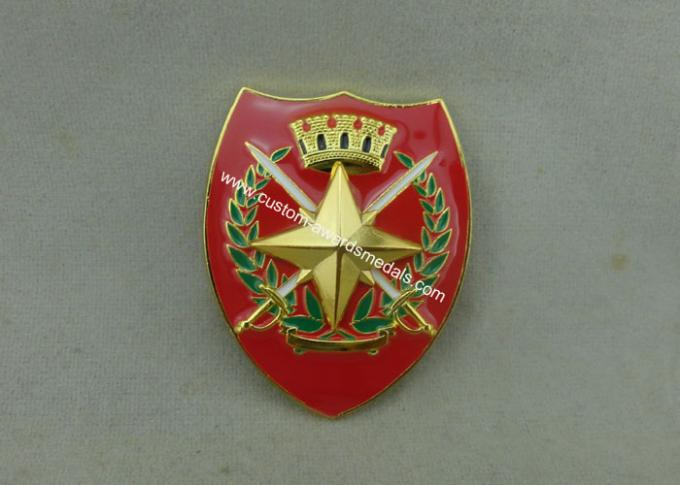 Printing Military Metal Souvenir Badges With Adhesive Sticker , Brass Car Emblem