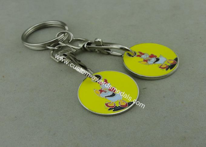 Suppermarket Shopping Trolley Coin With Keyring / Customized Logo