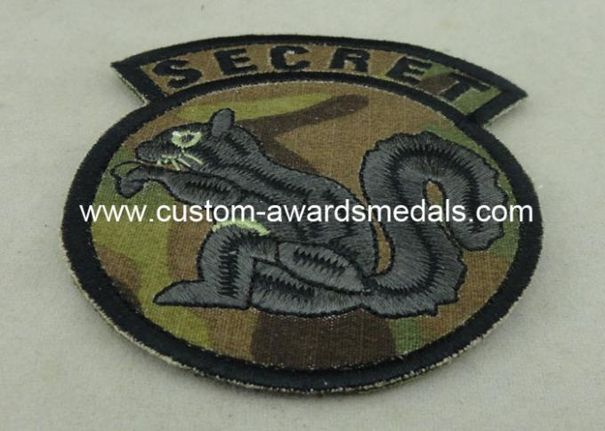 Cotton Thread Embroidery Patches For Clothes , Military Emblem Badge