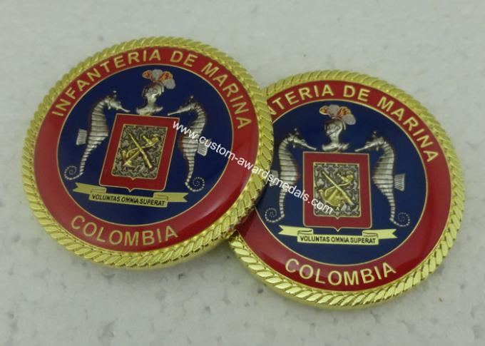 3D Customized Marina Personalized Coins , Challenge Colombia Coins With Zinc Alloy