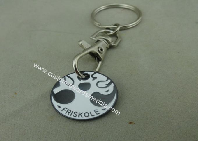 Hard Enamel Promotional Iron Stamped Trolley Token Keyring Customized
