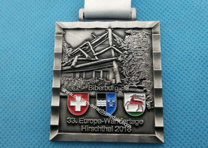 Customized Soccer Football Medallion Die Cast Medals , Bronzed Police Challenge Awards