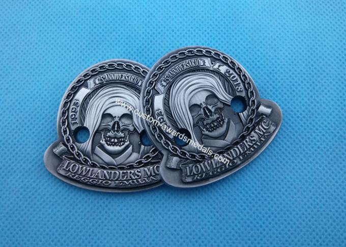 3D Antique Zinc Alloy Imitation Hard Enamel Ring , Military Badges And Pins