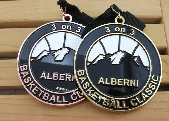 Zinc Alloy Basket Ball Sports Enamel Medal Nickel Plating With 900 * 25 Mm Ribbon