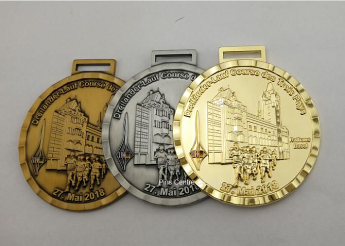 Marathon Running Award Medals By Stamping , Full Relief Zinc Alloy Enamel Medals