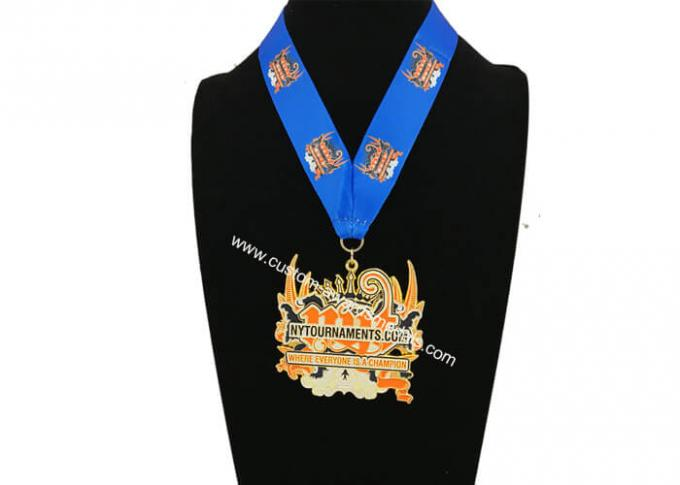 3 Inch Enamel Medal , Karate Awards Gold Medals With Full Printing Neck Ribbon