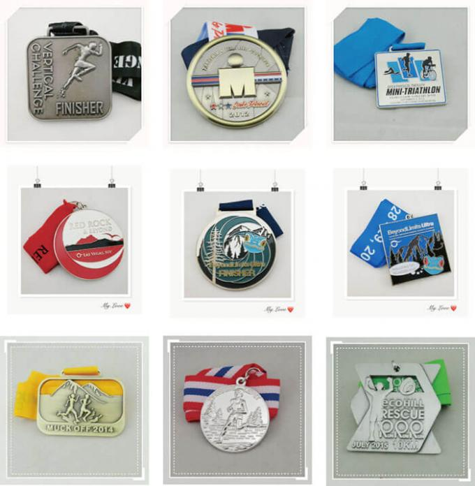Durable Custom Sports Medallions , Promotional Awards Ribbon Running Race Medals