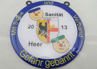China Stainless Steel Sanitat Karneval Silk Screen Printing Medal by Gefahr Gebannt, Flat or Double Side supplier