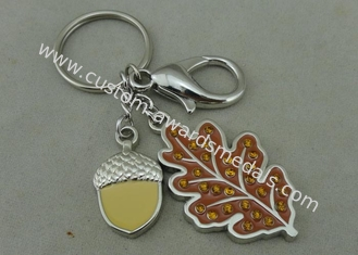 China Rhinestone Promotional KeyChain 3D Die Casting Key Ring With Soft Enamel supplier