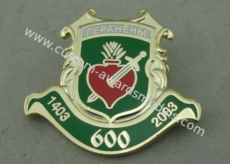 China 3D Stamped Gold Enamel Lapel Pin Badge With Synthetic Enamel 1.5 Inch supplier