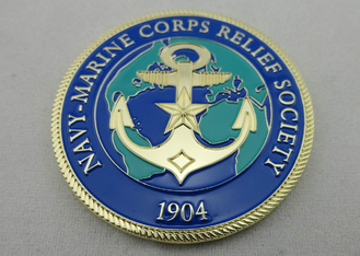 China Brass / Zinc Alloy / Pewter Navy Marine Corps Coin / Harley Davidson Personalized Coins with Rope Edge supplier