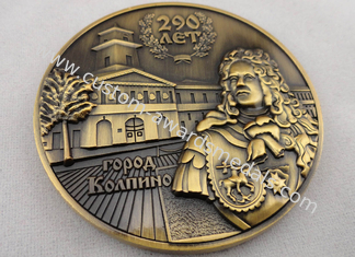 Customized Both Sides 3D Brass / Copper / Zinc Alloy Memorial Coin with Antique Gold, Nickel, Brass Plating