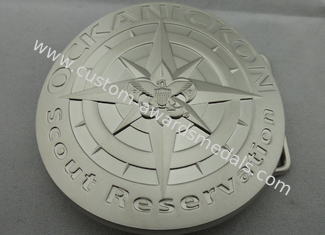 China 3D Zinc Alloy Metal Scout Reservation Belt Buckle with Misty Nickel Plating for Awards, Souvenir Gift supplier