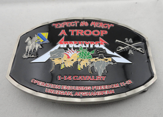 China Zinc Alloy / Pewter Troop Belt Custom Made Buckles Antique Nickel Plating with soft Enamel supplier