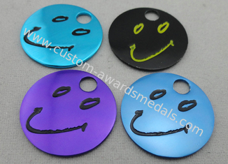 China Aluminum Anodized Trolley Coin, personalised Trolley Coin Keyring with Stamped, Photo Etching, Injection supplier