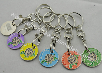 China Die stamping, Die Cast, Die Struck Metal Tortoise Shopping Trolley Coin Key Chain supplier