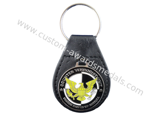 China Promotional Gift Eagle Leather Keychain, Personalized Leather Keychains with Nickel Plating supplier