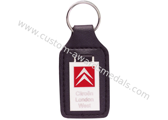 China Custom Key Chains, Car Leather Pocket Keychain with Synthetic Enamel Emblem, Zinc Alloy with Nickel Plating supplier