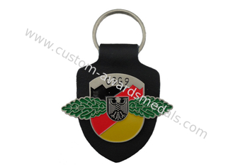 China GSG9 Personalized Leather Keychains, Promotional Keychains With Logo with Soft Enamel Emblem supplier