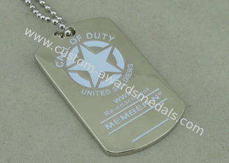 China Army Personalised Dog Tags , Die Casting Zinc Alloy Dog Tag Nickel Plating supplier