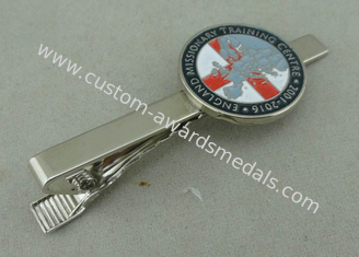 China Silver Personalized Tie Bar Cufflink For Promotional , Brass Tie Tack By Die Stamped supplier