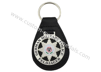 China 3D German Military Police Leather Key Chain, Zinc Alloy Personalized Leather Keychains with Soft Enamel Emblem supplier