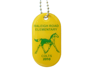 China Raleigh Road Elementary Dog Id Tag, Personalised Dog Tags For Pets With Stainless Steel Silk Screen Printing supplier