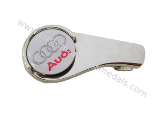 China Customized Zinc Alloy Audi Golf Cap Clip With Ball Markers, Nickel Plating, Back Side With Metal Clip supplier