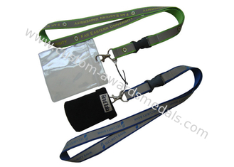 China Silk Screen Printing Lanyard, Luggage Belt Lanyard With Reflection Band, Mobile Strap And Id Holder supplier