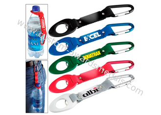 China Silk Screen Polyester Printing Bottle Holder Lanyard With Reflection Band, With Carbiner supplier