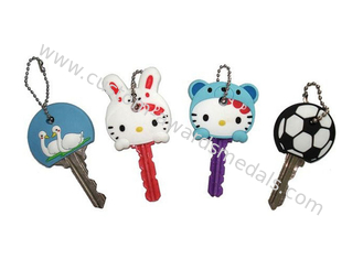 China Hello Kitty Cartoon Key Cover, Personalized Soft PVC Keychain With Ball Chain supplier