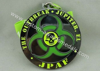 China Personalised Zinc Alloy Transparent Enamel Medal With Black Nickel Plating supplier