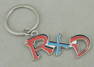 China Zinc Alloy Synthetic Enamel Promotional Keychain Die Casting Silver RXD Key Ring supplier