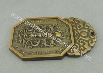 China Die Casting Souvenir Badges Pewter Antique Gold 3D Club Pin Badges Promotional supplier