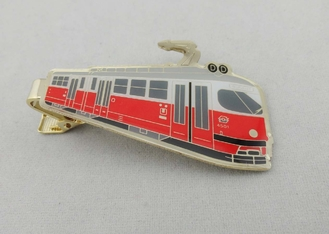 China 3D Brass Photo Personalized Tie Bar Etched With Soft Enamel , Gold Plating supplier
