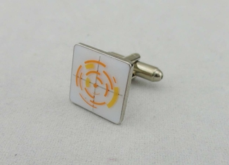China Brass Stamped With Soft Enamel Cufflink , Gold Nickel Plating For School supplier