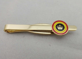 China Mini Stamped Personalized Tie Bar With Synthetic Enamel , 13 mm Gold Plating supplier