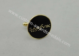 China Black Sarfvik Golf Deluxe Stamped Cufflinks With 3d Photo Synthetic Enamel supplier