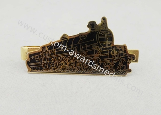 China Small Nickel Custom Gold Personalized Tie Bar Gift With Epoxy Black Train supplier