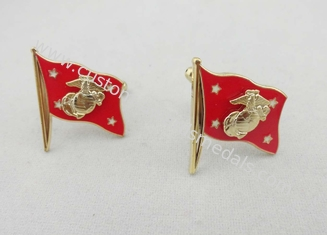 China Copper Stamped Soft Enamel Flag Cufflink , 1 Pair Mini 3D Cloisonné Aluminum supplier