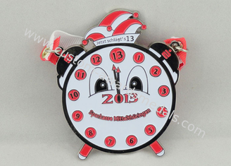China Red Clock Pewter Carnival Medal , 65mm Nickel Plating With Ribbon For Children supplier