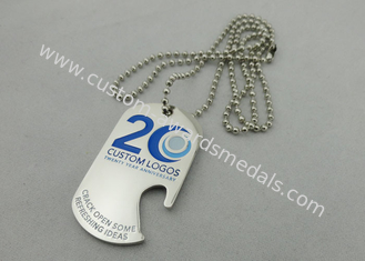 China Custom Logo Personalised Dog Tags With Bottle Opener , 800*2.4mm Ball Chain supplier