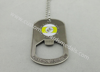 China Stamped Bottle Opener Personalised Dog Tags With 800*2.4mm Ball Chain supplier