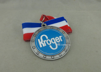 China Copper Stamped Soft Enamel Ribbon Medals , Antique Silver Custom Medals For Awards supplier
