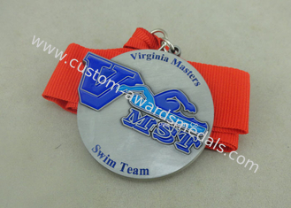 China Zinc Alloy Swimming Award Ribbons Medals , Die Stamped Ribbon Personalised Medals supplier