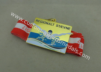 China Customized Swimming Sports Medals , Gold Plating Ribbon Medals By Brass Die Struck supplier