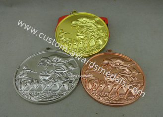 China Zinc Alloy Customized Ribbon Medals , 3D Sports Running Medals With Gold Plating supplier