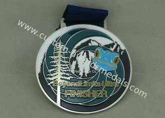 China Customized Big Round Antique Enamel Medals , Brass Die Struck Running Sports Medal supplier