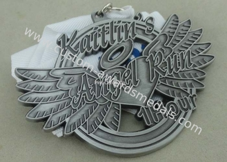 China Soft Enamel Die Casting Medals For Running , Brass Awards Medal With Sublimation Ribbon supplier