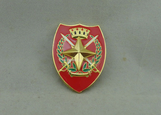 China Printing Military Metal Souvenir Badges With Adhesive Sticker , Brass Car Emblem supplier